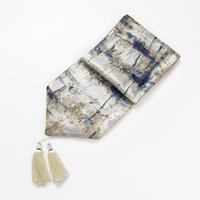 шкафы для одежды оптовых-32x210cm  jacquard table runner dust proof blue/coffee abstract table towel mat cabinet cloth cover furniture cover
