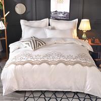 Wholesale lace bedding sets king size resale online - Luxury Lace Solid Color Bedding Set pc quilt Duvet Cover set Pillow Cases no Bed Sheet Bedclothes king size comforter