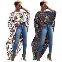 ingrosso camicette lunghe schiene-Magliette lunghe irregolari per donna grande catena d'oro stampato breve anteriore lungo posteriore moda camicetta manica corta