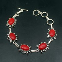 Wholesale 925 unique link chain for sale - Group buy Wonderful Unique Natural RedCoral Sterling Silver Chain Links Bracelet Inch HD220