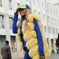fox mujer venda por atacado-23 cores Mulheres Real fox fur vogue coletes jaquetas de pele genuína gilet perfeito shopping vestindo abrigo mujer customzie plus size