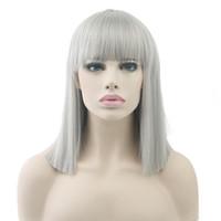gri kısa saç perukları toptan satış-8 Renkler Kısa Düz Saç Peruk Isıya Dayanıklı Sentetik Saç Gri Doğa Siyah Kadınlar Partisi Cosplay Peruk Bobo Peruk