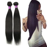 Wholesale straight human hair 24 inches online - Brazilian Straight Virgin Hair Wefts Bundles Natural Black Unprocessed Brazilian Straight Human Hair Extensions Cheap Brazilian Hair