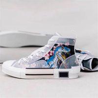 patrón de encaje de zapatos de diseño al por mayor-De lujo de alta superior B23 oblicua Sneaker mujeres de los hombres de moda del modelo del cordón plano de los zapatos corrientes de baloncesto zapatos de diseño de alta calidad con la caja US 4-11
