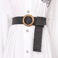 ingrosso fibbia in cintura in legno-Intrecciato Cintura con fibbia modo delle signore di legno solido casuale di lusso del vestito da estate donne di alta qualità paglia intrecciata Cintura Legno BZ92