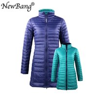 Wholesale lining bags resale online - NewBang Brand XL Long Down Coats Women Hooded Ultra Light Down Jacket With Carry Bag Travel Double Side Reversible Jacket SH190930