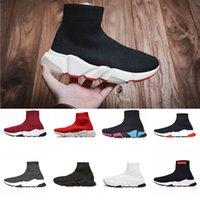 frauen weiße stiefel großhandel-Mit Box 2019 Speed Trainer Schwarz Laufschuhe Damen Triple S Weiß Gym Rot Grau Designer Sneakers Casual Sockenschuhe Knit Loafers Boots