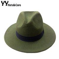 ingrosso nastro jacquard d'epoca-14 colori lana trilby caps per uomo donna vintage fedora cappelli di panama con nastro nero los sombreros de ala de lana YY0399 D19011102