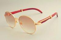 sonnenbrille für heiße sonne großhandel-2019 neue heiße Sonnenbrille mit rundem Gestell 19900692, Retro-Sonnenbrille, Tempelsonnenbrille aus Naturholz
