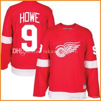 nhl jerseys xxl оптовых-дешевые Detroit Red Wings 9# Горди Хоу хоккей Джерси мужская вышивка и 100% сшитые Горди Хоу CCM НХЛ трикотажные изделия