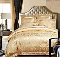 ingrosso piumino jacquard set oro blu-Oro / Bianco / Blu Seta Jacquard Bedding Set di lusso 4 / 6pcs Satin Bed Set Copripiumino Re Regina Biancheria Lenzuola Federe Home Textile