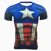 kapitän amerika strumpfhosen großhandel-Hot 2019 Die beliebtesten 3D-Drucke, Captain America, hochfest, eng anliegend, schweißtreibend, schnelltrocknendes Sport- und Fitnessgerät für Männer