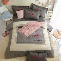 textiles para la casa al por mayor-Juego de ropa de cama Flamingo Queen King Size Sábanas Funda nórdica Estampado de algodón cepillado Dormitorio de residencia Casa Textiles para dormitorio
