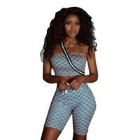 zwei stück straßenmode großhandel-Damen Designer Zweiteiler Fashion Printed Tube Top + Shorts Street Jooger + Cropped Top Tees Luxus Damenbekleidung