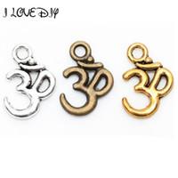 sinal om venda por atacado-Atacado-Lotes 100 peças de prata tibetana ohm om Yoga sinal Buddha 3D charme pingentes descobertas 16mm