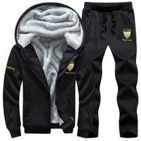 ingrosso pigiama invernale di pile morbide-Inverno Uomo spesso Tute sportive Tuta Felpa con cappuccio Abbigliamento sportivo Giacche in pile con zip Zipper + Pantaloni da uomo elastici Set da uomo