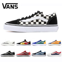 Wholesale old khaki online - VANS Flames Original old skool Running shoes black blue red Classic mens women canvas sneakers fashion Cool Skateboarding casual shoes