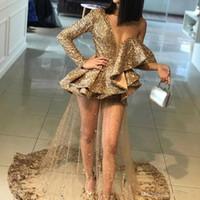 elegante gelegenheit kleider für frau großhandel-Bling Pailletten Gold Appliques Prom Party Kleider 2019 Rüschen Elegante Schulter Frauen Anlass Sheer Prom Abendkleider