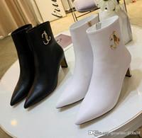 zapatos plateados negros al por mayor-Las nuevas mujeres Minori 85 botines de piel de mujer botas del tobillo de lujo del diseñador de moda las botas botines Tamaño de superficie de 35-40 Calidad