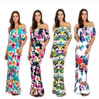 hawaii elbiseler kadınlar toptan satış-Hawaii Petal Bohemian Elbise Kadınlar Tatil Kapalı Omuz Bayanlar için Maxi Uzun Yaz Baskı Elbise Mayo kadın S-XL Boho Kadınlar Özel