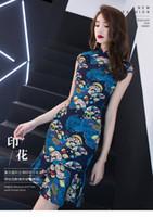 ingrosso gonne di coda di pesce gonna-Fatory Nuovo Modificato Cheongsam Donne Elegante e atmosferica del partito del vento di pesce cinese coda dimagrante Fashion Dress Short Skirt QC0315