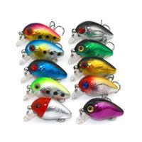 3d cebos de pesca al por mayor-3 cm 1.5 g Mini señuelos de pesca de plástico cebo Minnow Crankbaits 3D ojo cebo señuelo artificial 10 colores LJJZ279
