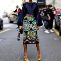 gravures africaines à vendre achat en gros de-GuyuEra Nouvelle robe africaine pour les femmes européennes et américaines robe vente chaude imprimer jupe à manches longues costume jupe longue