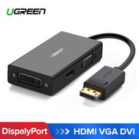 projetor conversor portátil venda por atacado-Frete grátis 3 em 1 DisplayPort DP para HDMI VGA DVI 4K Homem para Mulher Display Port cabo conversor para HP PC Projetor Portátil