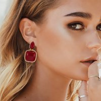 корейские квадратные серьги оптовых-Korean retro classic water drop earrings simple wine red geometric Square Earrings  Wedding Rhinestone Earring Jewellery