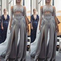 gümüş mücevher balo elbisesi toptan satış-Modern 2019 Gümüş Jewel Dantel Aplikler Uzun Kollu Tulum Gelinlik Modelleri Bölünmüş Ön Örgün Vestidos De Abiye giyim