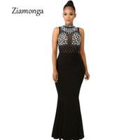 túnicas largas de malla al por mayor-Ziamonga vestido maxi largo vestido de diamantes de imitación de las mujeres ver a través de malla sexy dress negro rojo vestidos elegantes vestidos de fiesta club nocturno