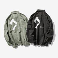 ingrosso giacca di autunno della corea-Axe Behind Printing Jacket Primavera Autunno Corea Fashion Trend Youth Leisure Camicia a maniche lunghe Harajuku Style Cotone di alta qualità