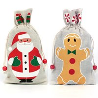 Wholesale drawstring pouch burlap resale online - Christmas Decoration Drawstring Gifts Bag Pouch For Santa Clause Snowflake Snowman Reindeer Xmas Storage Burlap birthday Bag DHL WX9