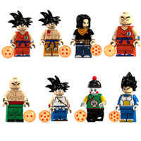 mini pelotas de juguete al por mayor-Educativo Dragon Ball Z Super Saiyan Son Goku Vegeta Krillin Chiaotzu Tien Shinhan Bardock Mini Toy Figure Building Block