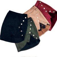 falda lápiz de encaje beige al por mayor-2019 Verano Mujer Señoras de Cintura Alta Lápiz Faldas botón de encaje patchwork Mini Falda de Cuero Slit Color Sólido Faldas Cortas