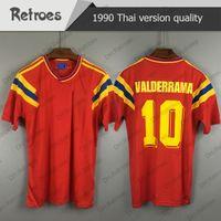 Wholesale colombia soccer jerseys for sale - Group buy 1990 Colombia Retro soccer jersey red Valderrama vintage football shirt Guerrero away camisa de futebol