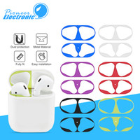 Wholesale metal air online - Hot sale Metal Dust Guard sticker for Apple AirPods Case Cover Dust proof Protective Sticker Skin Protector Air Pods Accessories NO Pcakage