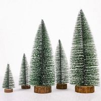 Wholesale mini wooden christmas tree decorations resale online - Diy Mini Wooden Christmas Trees Decor Ornaments Festival Home Party Xmas Tree Table Desk Decoration Children Christmas Gifts