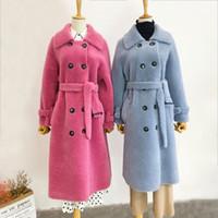 ingrosso seni naturali pieni-2019 donne cappotto invernale giacche a vento lana naturale pelliccia di agnello di pecora ecopelle lungo trench doppio petto cappotto giacca di pelliccia SH190930