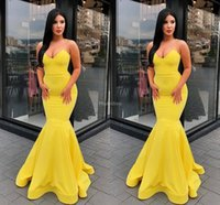 Wholesale hot evening gowns satin resale online - 2019 Sexy Mermaid Yellow Evening Dresses Strapless Sweep Train Hot Sale Formal Party Prom Gowns Stylish Special Occasion Dress Cheap Vestido