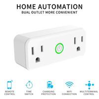 voz remota al por mayor-La aplicación de teléfono Wifi Smart Mini Plug para control remoto electrónico funciona con Google Home / IFTTT Alexa Voice Control con 2 enchufes