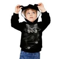 ingrosso i bambini delle hoodies dell'orecchio-Bambini Hoodies copre Felpa con cappuccio di abbigliamento teen ragazzo dei capretti 3D Print dell'orecchio di gatto del fumetto degli animali Felpa con cappuccio Pullover Pocket