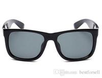 Wholesale black purple eyeglass frames for sale - Group buy New Fashion Sunglasses UV400 Justin Men Womens Brand Designer Driving Eyeglasses Gardient Sun Glasses Black with Case