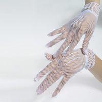 ingrosso guanti sexy neri-Guanti a maglia sottile Guanti a rete con pizzo sexy da nightclub Guanti da cerimonia con guanti bianchi neri