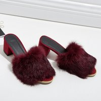 Wholesale casual men elegant shoes online - 2018 Rome Casual Sexy Elegant Woman Slippers for Home Med Square Heel Fur Slides Winter Platform Fuzzy Shoes