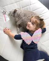 asas de borboleta para trajes venda por atacado-Bonitos crianças traje de desempenho adereços colorido borboleta fada princesa e asas de anjo conjunto de duas peças