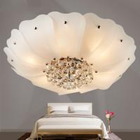 Wholesale crystal light shades for sale - Group buy 2019 Warm home Led Ceiling Lights decoration for living room luminarias para sala de jantar crystal flower shade lamp