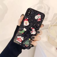 Wholesale santa claus glitter for sale - 2018 Popular Christmas Glitter Bling Case D Epoxy TPU Back Cover Cute Santa Claus Elk Shockproof for iPhone X XS MAX XR
