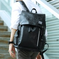 Wholesale soft computer cover resale online - Hot Sell Fashion backpack Black men Style Double Shoulder Bags Duffel Bags PU leather School bags computer bag CM