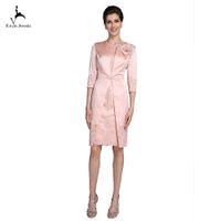 kızıl sütun elbisesi toptan satış-Eren Jossie Allık Pembe Gelin Elbise Anne Kıyafetleri Kılıf Sütun Diz Boyu Dantel Üzerinde Saten Aplike Kristal ile